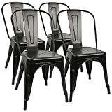 Furmax Metal Dining Chair Indoor-Outdoor Use Stackable Classic Trattoria Chair Chic Dining Bistro Cafe Side Metal Chairs Black Metal(Set of 4)