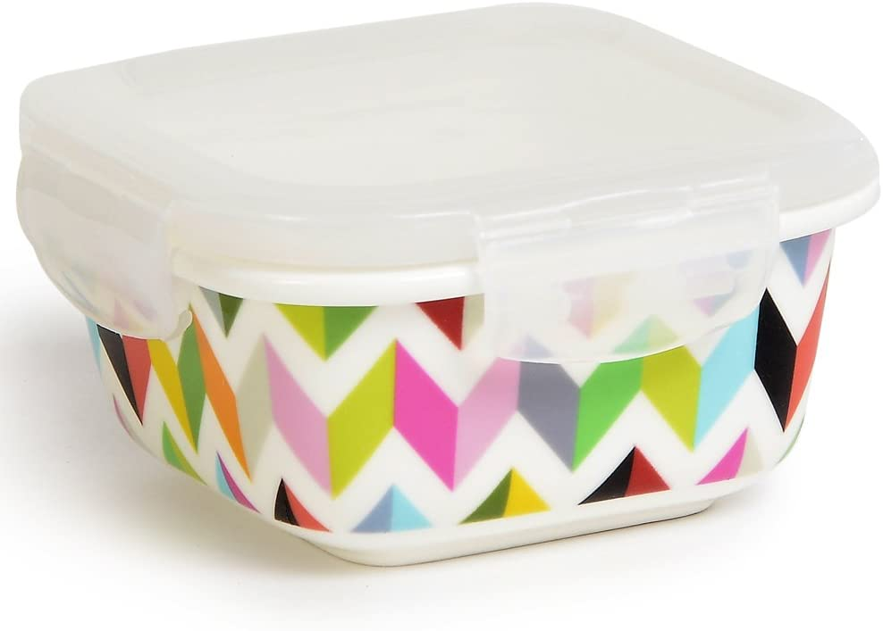 French Bull 9 oz. Square Porcelain Food Storage Container - Lunch, Airtight, Lid - Ziggy
