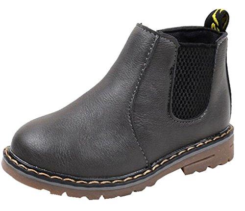 DADAWEN Boy's Girl's Waterproof Side Zipper Short Ankle Winter Snow Boots Gray US Size 2 M Little -