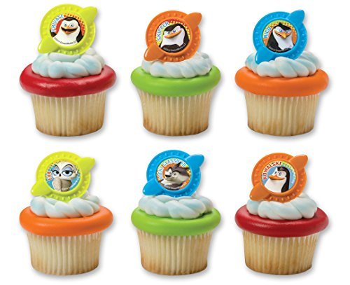 CakePicke cake cupcake topper Penguins of Madagascar Secret Agent Cupcake Rings - 12 Ct. - Cake Madagascar Birthday