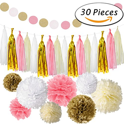 Paxcoo 30 Pcs Pink and Gold Party Supplies with Tissue Pom Poms Tassel Garland for 1st Baby Girl Birthday Decorations