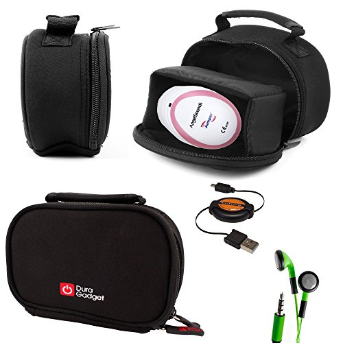 Price comparison product image DURAGADGET Black Neoprene Lightweight Zip-Locked Carry Case Compatible with the AngelSounds Fetal Doppler Baby Heart Monitor - Includes Retractable Mini USB Cable and LED Green Flashing Earphones