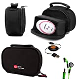 DURAGADGET Black Neoprene Lightweight Zip-Locked Carry Case Compatible with the AngelSounds Fetal Doppler Baby Heart Monitor - Includes Retractable Mini USB Cable and LED Green Flashing Earphones