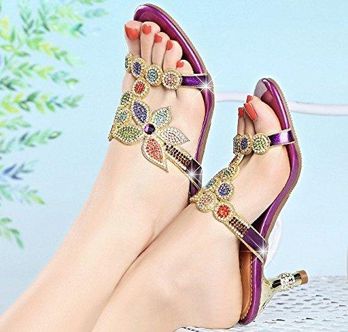 SCLOTHS Tongs Femme Chaussures L'été talons moyens talon haut Diamant artificiel bien avec Purple Wht7I1g