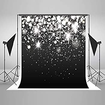 Image of Backgrounds 10ft(W) x10ft(H) Silver Sparkle Glitter Backdrops Black Silver Bokeh Dots Photo Background Light Spots Birthday Wedding Photography Party Studio Props
