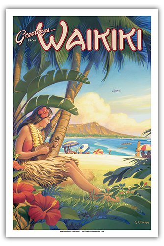 (Pacifica Island Art Greetings from Waikiki, Hawaii - Ukulele Hula Girl - Diamond Head Crater - Vintage Style Hawaiian Travel Poster by Kerne Erickson - Master Art Print - 12 x 18in)