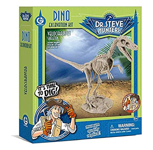 Geoworld 625264 - Dr. Steve Hunters: Dinosaur Excavation Kit - Velociraptor Skeleton - Age 6 + Size: 27 cm