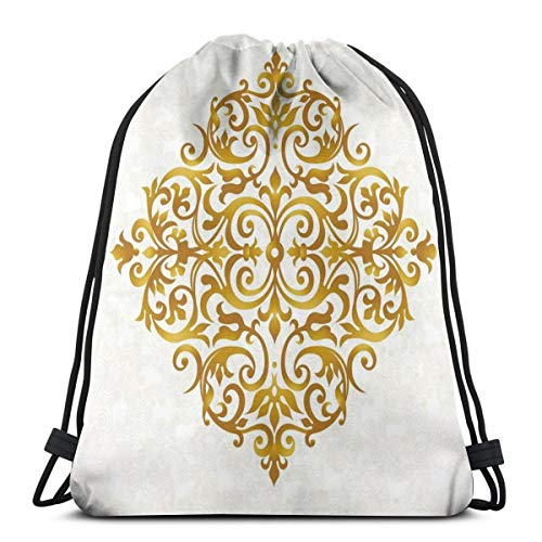 - 2019 Funny Printed Drawstring Backpacks Bags,Victorian Style Traditional Filigree Inspired Royal Oriental Classic Print,Adjustable String Closure