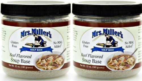 Mrs Millers Homestyle Beef Soup Base 2-12 oz Jars / Gluten Free No MSG by Mrs. Miller's