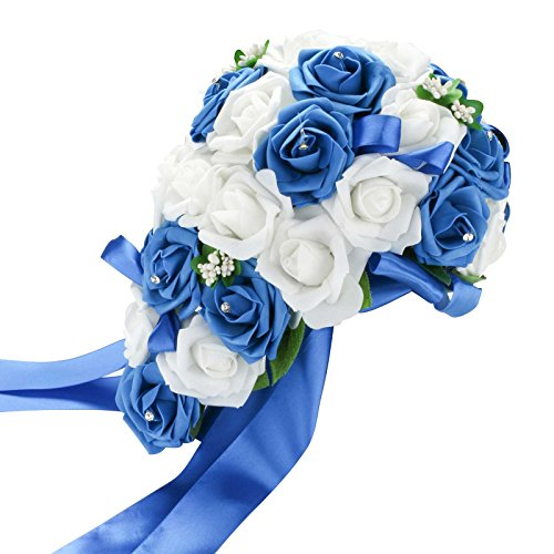 vLoveLife Wedding Bouquet Mix White & Royal Blue Artificial PE Rose Flowers Bridal Bridesmaid Bouquets Handmade Posy Pearl Rhinestone Plant Leaf Vine Decor White Roses Wedding Bouquet