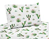 Sweet Jojo Designs Pink and Green Boho Watercolor Twin Sheet Set for Cactus Floral Collection - 3 piece set