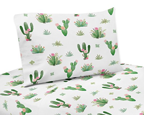 (Pink and Green Boho Watercolor Twin Sheet Set for Cactus Floral Collection - 3 piece set)