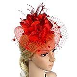 ACTLATI Charming Big Flower Headband Netting Mesh Hair Band Cocktail Hat Party Girls Women Fascinator, Red, One Size
