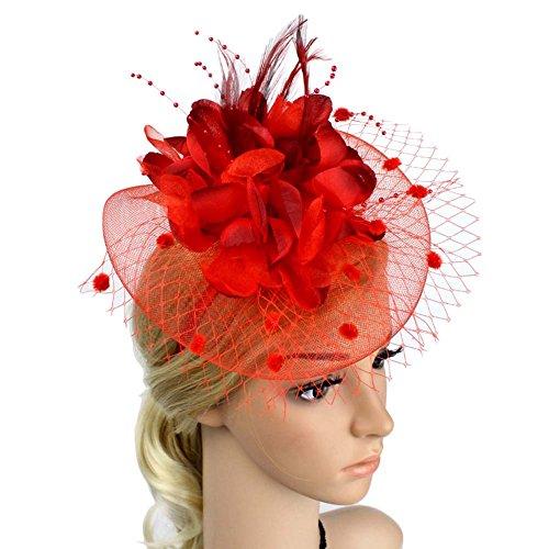 ACTLATI Charming Big Flower Headband Netting Mesh Hair Band Cocktail Hat Party Girls Women Fascinator Red (Big Red Hair Halloween)
