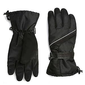 Ski Gloves Men Winter Warm Windproof Waterproof Outdoor Snow Snowboard Women and Kids (Black)