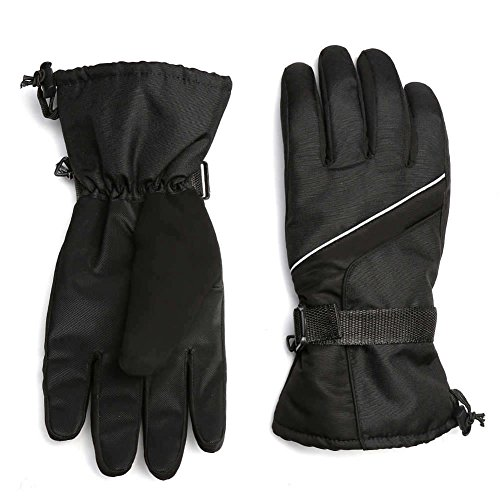 Ski Gloves Men Winter Warm Windproof Waterproof Outdoor Snow Snowboard Women and Kids (Black) (Plastic Mens Glove)