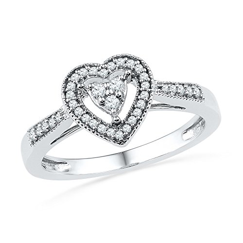 Jewels By Lux 10kt White Gold Womens Round Diamond Heart Cluster Ring 1/5 Cttw Ring Size 5.5
