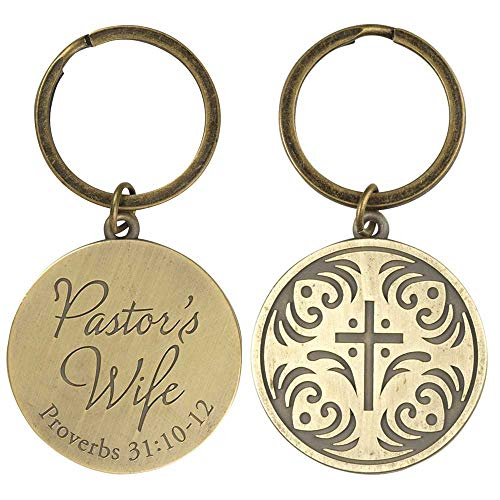 (Pastor's Wife Script Circle with Cross Burnished Gold Tone Metal Key Chain)