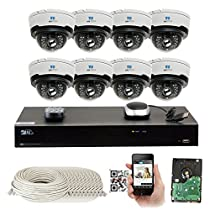 8 Channel H.265 8MP 4K NVR 4MP (2592 x 1520) Network PoE Security System -8 x 4MP 1536p @ 30fps Realtime 2.8-12mm Varifocal Zoom POE Weatherproof Dome IP Cameras, 80ft Night Vision