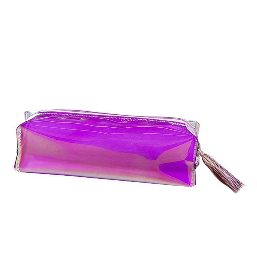 Shiny Color Transparent Tassel Zipper Pencil Case Makeup Cosmetic Bag School Supplies
