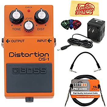 Boss DS-1 Distortion Guitar Effects Pedal Bundle with 9V Power Adapter, Gearlux Instrument Cable, Patch Cable, Picks, and Polishing Cloth