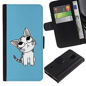 All Phone Most Case / Oferta Especial Cáscara Funda de cuero Monedero Cubierta de proteccion Caso / Wallet Case for Samsung Galaxy S5 V SM-G900 // Cute Japanese Thoughtful Cat