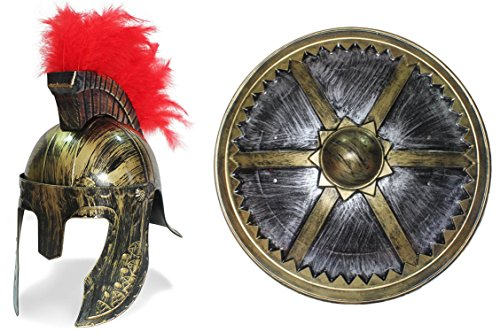 OliaDesign 399 Roman Helmet with Red Feathers Gladiator with Large Roman Shield, Gold, One Size