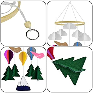 KATUMO Baby Crib Mobile, Handmade Baby Mobile Infant Toy Hanging Rotating Hot Air Balloons Birds and Clouds Nursery Bed Decoration Crib Mobile for Night Boys Girls Baby Shower, Crib Mobile Décor