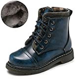 Boys Winter Warm Fur Lining Combat Hiking Martin Boots British Kid Toddler Heels Lace up Short Ankle Boot