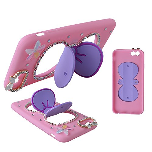EVTECH (TM) EVTECH (TM) 3D Bling Crystal mignon Big Bow bowknot silicone stand Case Standup avec Bling Bow Wing pour iphone 6 5.5''