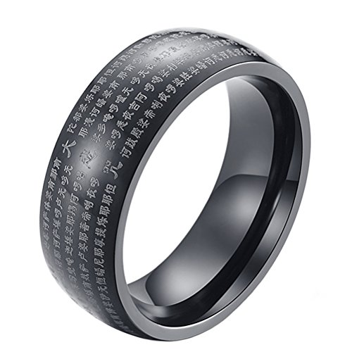 PAURO Men's Stainless Steel Chinese Buddhist Great Compassion Mantra Prayer Ring Band 8MM Black Size (Buddhist Symbol Ring)