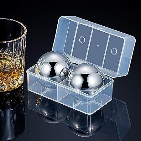 JTENGYAO 2 Piezas de Cubitos de Hielo de Acero Inoxidable Gran Bola de Enfriamiento de Whisky Piedras de Enfriamiento Reutilizables Rocas de Enfriamiento de Metal para Bebidas Beber