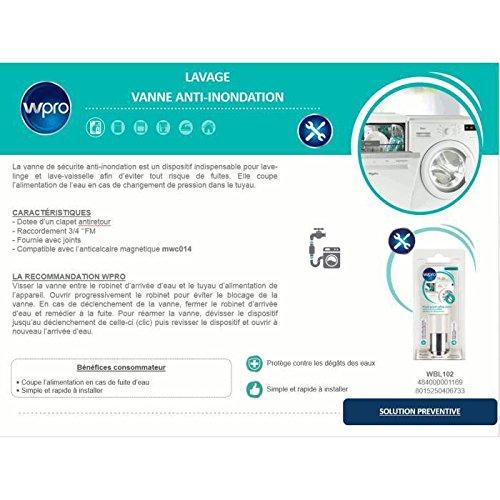 Wpro Wbl102 Vanne Anti Inondation Pour Lave Linge Et Lave Vaisselle