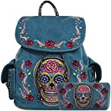 Sugar Skull Day of the Dead Daypack Concealed Carry Backpack Fashion Women Travel Biker Purse Wallet Set (Turquoise Set)