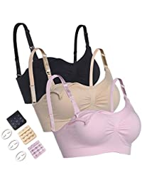 Seamless Maternity Nursing Bras Super Soft and Breathable Fabric with Extra Bra Extenders & Clips