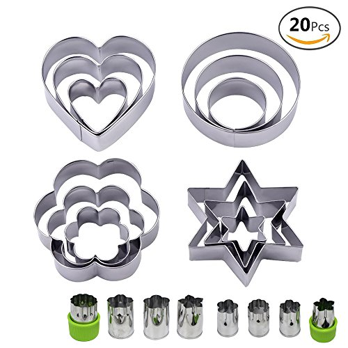 JUSLIN Set of 20 Stainless Steel Molds, 12 Metal Cookies Cutters, 3 Star-shapes, 3 Flower-shapes, 3 Round, 3 Heart-shapes (different sizes), & 8 Metal Vegetable Fruit Cutters for Food - Heart Shape Flower