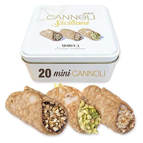 Siciliaanse mini cannoli, gevuld met pistache, gianduia en hazelnootcrème   18 Mini Cannoli in zakje per portie…