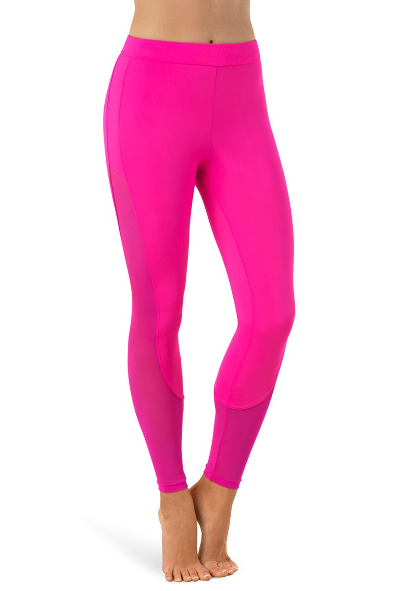 Balera Leggings Girls Pants for Dance with Mesh Ankle Length Bottoms Cerise Adult Large by Balera