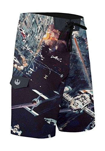 Musterbrand Star Wars Badeshorts Herren Space Fight Badehose Boardshorts Mehrfarbig