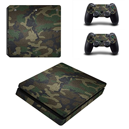 Chickwin PS4 Slim Vinyl Skin Full Body Cover Sticker Decal For Sony Playstation 4 Slim Console & 2 Dualshock Controller Skins (Green Camo)