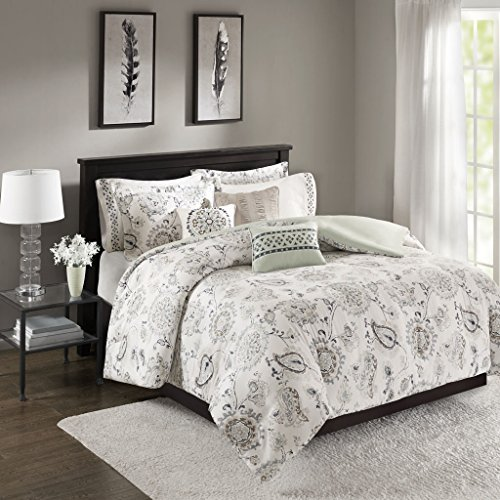 Bonnie 8 Piece Cotton Sateen Duvet Cover Set Blue Full/Queen Bonnie Blue Patterns