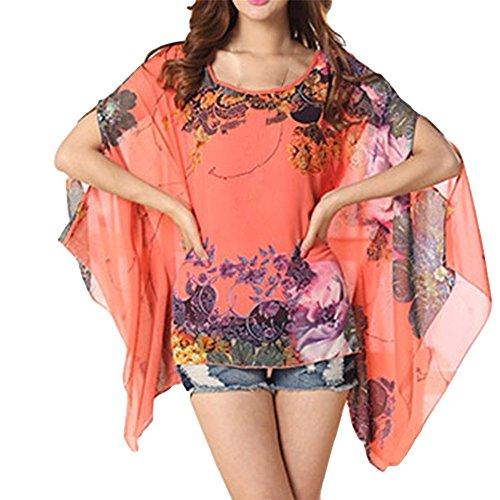 Color7 Top JLTPH Spiaggia delle Camicetta Tunica Batwing Donne Shirt Shirt del Hippie Chiffon PPqKCT7Uwx