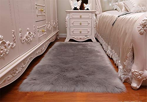 Sheepskin Area Rugs Super Soft Fluffy Rectangle Carpet Floor Mats Home Decorative for Living Room Girls Bedrooms,Grey 2' x 3' Rectangle