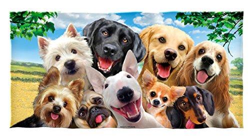 Dawhud Direct Dogs Selfie Cotton Beach Towel by Dawhud Direct