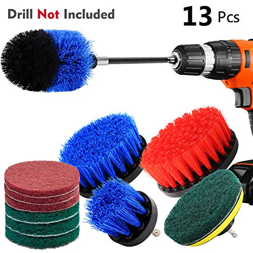 KNGUVTH 13 Piece Drill Brush Attachments Set, Power Scrubber Brush Cleaning Kit with Scrub Pads & Drill bit Extender – Cleaning Supplies for Bathroom, Grout, Tub, Tiles, Sinks, Kitchen, Car (Blue)