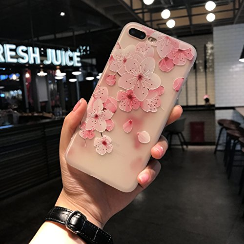 iPhone 8 plus case, iPhone 7 plus 3D Printed Flower Case, ultra thin flexible case, Shock-proof Crystal Silicone TPU Case for iPhone 8 plus iPhone 7 plus (HD 3D Flower Print) (3D Cherry Blossom Print)