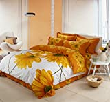 100% Cotton Bedding Duvet Cover Sets Sunflower Patterns Design Full Size