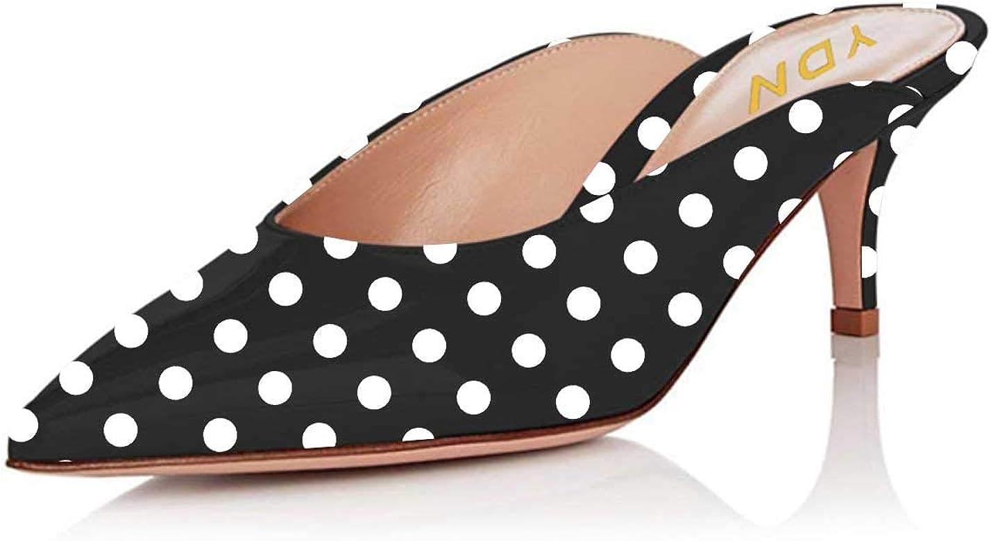 c9e3799b0b YDN Women Dressy Pointed Toe Low Heel Loafers Slip on Mules Slide Sandals  Kitten Shoes Black