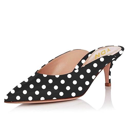 dd92d82d240 YDN Women Dressy Pointed Toe Low Heel Pumps Slip on Mules Clogs ...