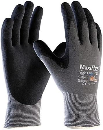 talla 9 Guante MaxiFlex Ultimate con tecnolog/ía Ad-Apt color gris//negro ATG 42-874